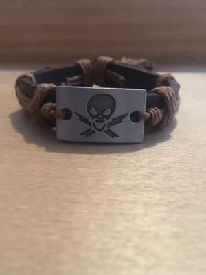 Skull Leather Bracelet for Sale in Lester, WV