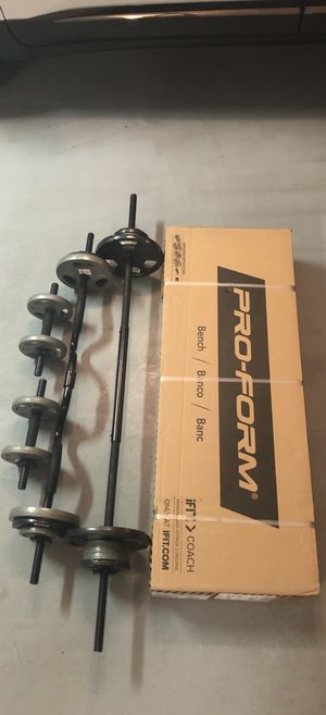 "PROFORM Standard Weight Bench XT, CAP combo Curl Bar, 5ft CAP weight lifting bar, 2 CAP 14"" adjustable dumbbell bars. 95lbs of standard steel plates. for Sale in Cave Creek, AZ"