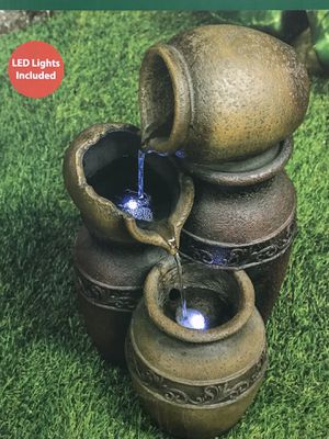 NEW IN BOX Rustic Jug Garden Fountain with Pump Water and Rust Resistant Backyard Patio Home Decor for Sale in Vista, CA