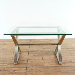 Pottery Barn Mid Century Modern Style Glass And Metal X Form Desk (1021646) for Sale in San Bruno, CA