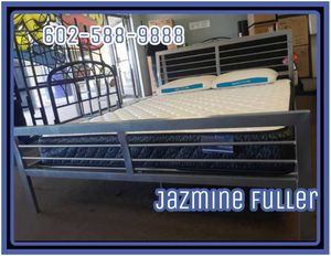 Queen bed frame with pillow top mattress for Sale in Glendale, AZ