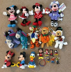 Vintage Disney Mickey Mouse Plush Toys Dolls Figures Figurines Piggy Bank Lot for Sale in Concord, CA