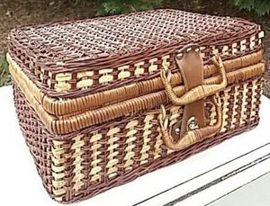 Vintage Wicker Case Picnic Basket In Great Condition for Sale in Chapel Hill, NC