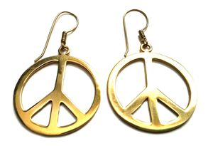 Handmade Peace Symbol Metal Earrings for Sale in New York, NY