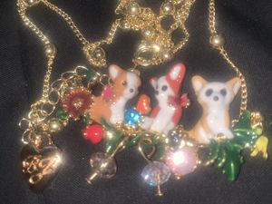Betsy Johnson acrylic 🐕 garden flower 🌺 pendant chain for Sale in Downers Grove, IL