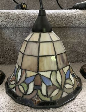 3 Light Pendant Tiffany Style Glass Shade Kitchen Island Pool Table Lightening With Its Track for Sale in Chapel Hill, NC