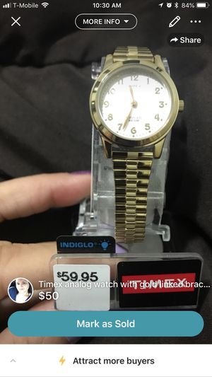 Timex analog watch with gold linked bracelet for Sale in Hialeah, FL
