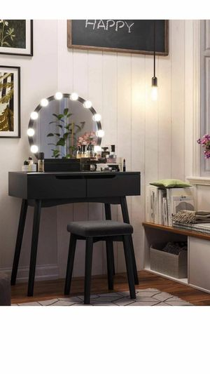 Vanity Set with 10 Light Bulbs and Touch Switch, Dressing Makeup Table Desk with Large Round Mirror, 2 Sliding Drawers, 1 Cushioned Stool for Bedroom for Sale in Eastvale, CA
