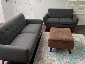FREE Modern Retro Sofa, Loveseat, Storage Ottoman for Sale in Castro Valley,  CA