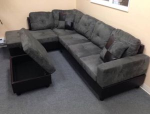 Gray sectional couch microfiber NEW on sealed box 📦 with ottoman and pillows DELIVERY for Sale in Portland, OR