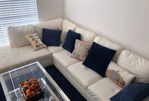Very firm Sectional, shaggy navy blue rug, and silver table for SALE! for Sale in Rockville, MD