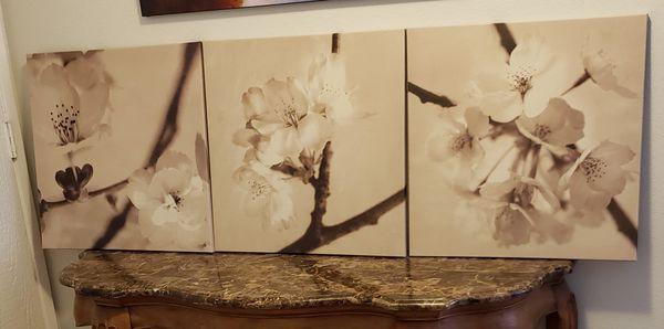 "Set of 3 - 22""x22"" Flowers on canvas wall art decor"