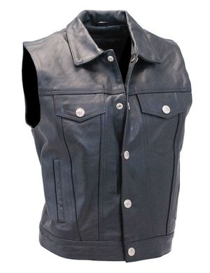 Hot Leathers Sexy Black Premium Leather Biker Rocker Motorcycle Sleeveless Heavy Duty Vest w/ Buffalo Nickel Buttons- Men's XL- Made in USA for Sale in Tacoma, WA