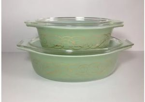 Vintage pyrex green golden scroll casserole/baking dishes for Sale in Pittsburgh, PA