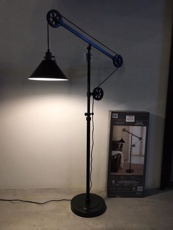 New in box 72 inches tall pulley floor lamp with led light bulb included heavy duty bronze steel finish