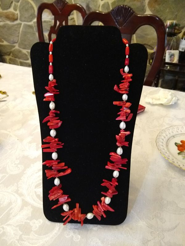 Necklace with red Coral , Pearl and Swarovski Laker