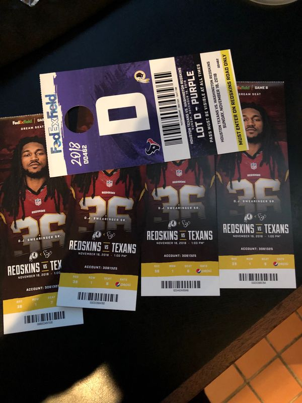 2 DREAM SEATS SECTION 39 REDSKINS VS TEXANS