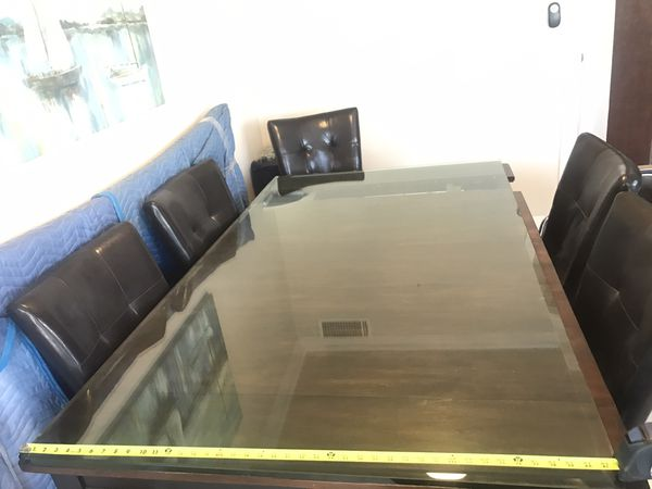 "Custom made, Solid, beveled glass top, 72""x42"""