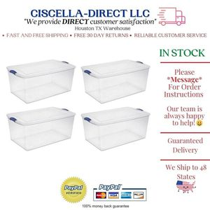 Set of 4 Large Storage Containers 105 Quart Clear Plastic Totes Latching Lids for Sale in Houston, TX