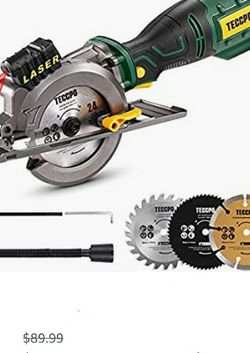 Mini Circular Saw, TECCPO 5.8A Circular Saw with Laser Guide, Fine Copper Motor, Max Cutting Depth 1-11/16'' (90°), 1-3/8'' (45°), 3 Blades for Wood, for Sale in Las Vegas,  NV