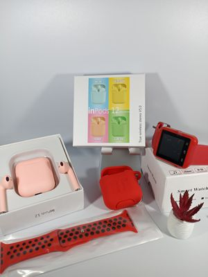 Bundles of Red 4X items, Smart watch for Android and iOS, TWS i12 V0.5 earphones, Silicone Airpods case, and Watch replacement band for Sale in Loma Linda, CA