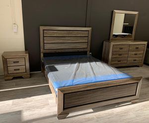 Brand New 4-PIECE Queen Size [SPECIAL] Farrow Grayish Brown Panel Bedroom Set | Bed Frame, Dresser, Mirror and Nightstand # for Sale in Jessup, MD