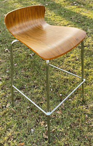 Contemporary 28 Inch Low Back Wood Seat And Metal Legs Counter Bar Stool for Sale in Chapel Hill, NC