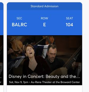 2 TICKETS TO DISNEY IN CONCERT BEAUTY AND THE BEAST ORCHESTRA for Sale in Southwest Ranches, FL