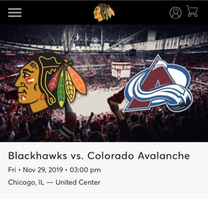 Four tickets to the Blackhawks vs Avalanche Fri Nov 29 at 3pm for Sale in Chicago, IL