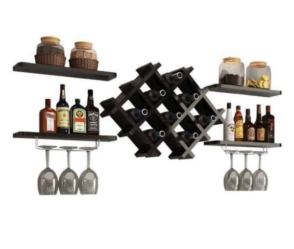 Black Wall Mounted Wine Rack Set with Storage Shelves