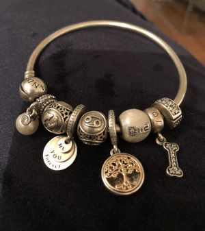 Pandora silver bangle with pearl diamond and gold charms. Retail over 1k for Sale in Miami, FL