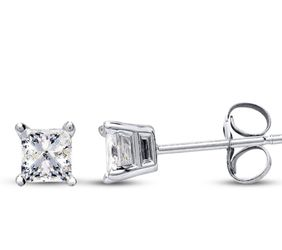 Diamond Earrings 1/2 ct tw Princess-cut 14K White Gold for Sale in Fairless Hills,  PA