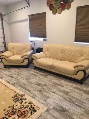 Cream leather couch and chair for Sale in Indian Land, SC