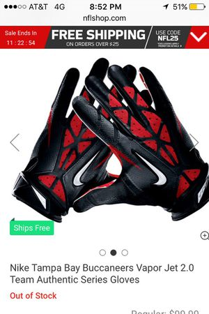 Tampa Bay Buccaneers Vapor Jet 2.0 Team Authentic Series Gloves for Sale in Orlando, FL