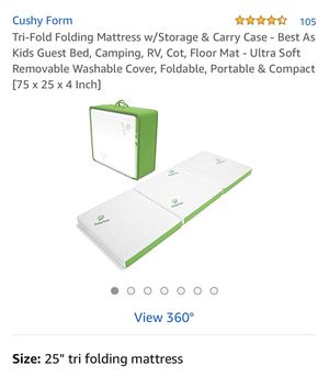 Tru-fold folding mattress/with storage & carry case- best as kids gust bed , camping , RV , cot , floor Mat, ultra soft, removable washable cover, fo for Sale in Ontario, CA