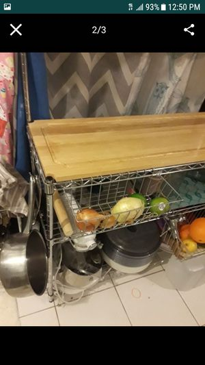 Wood bakers rack shelf organizer butchers block for Sale in Fort Lauderdale, FL