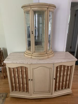 Antique Curio Cabinet with Marble Top for Sale in Wellesley, MA