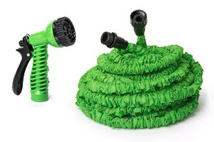 ALEKO GH75 Expandable Lawn Garden Hose Car Washing Watering Plants Auto Wash Cleaning with 7 Way Spray Nozzle Hose 75 Feet Long Green for Sale in Kent, WA