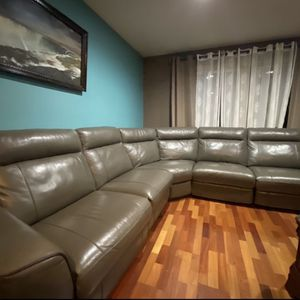 Leather Sectional Sofa with 3 Power Recliners. for Sale in Portland, OR