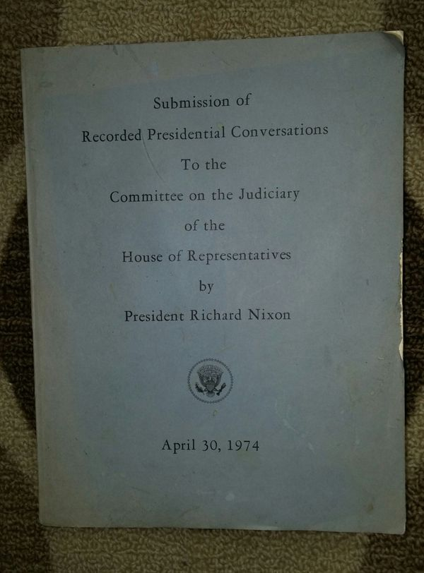 Collectible 1974 Richard Nixon's Submission Of Recorded Presidential Watergate Conversations
