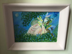 Framed bunnies oil painting for Sale in White Plains, NY
