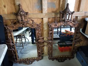 Pair of Antique Wood Frame Hand Carved Mirrors for Sale in Renton, WA