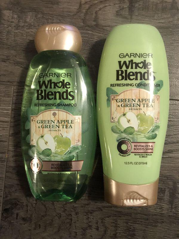 Garnier whole blends green apple & green tea shampoo and conditioner set