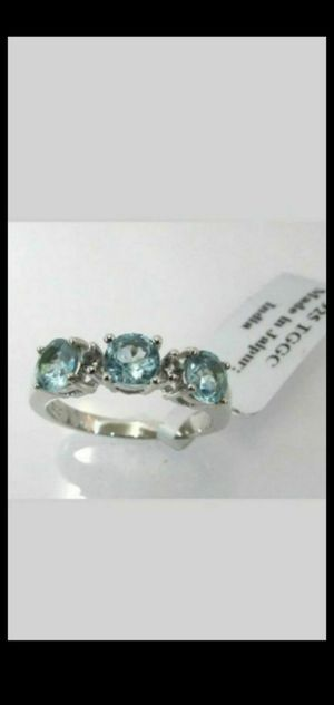 925 STERLING SILVER THREE GENUINE BLUE TOPAZ RING SIZE 7,GUARANTEED STERLING SILVER for Sale in Round Rock, TX