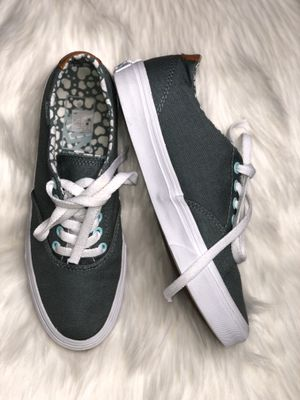 Vans Gray Teal Canvas Shoes Women's US Size 6.5 Skate Casual TB4R for Sale in Windcrest, TX