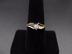 Vintage Estate Size 7.25 10k Solid Yellow Gold Diamond Solitaire Band Ring Wedding Engagement Anniversary Antique Promise Unique Cute for Sale in Everett, WA