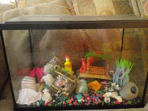 5.5 gallon fish tank with alot of different statues 30 days old paid 100 will take 50 for Sale in Waterbury, CT