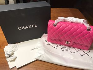 Chanel Classic Lambskin Double Flap Quilted Medium size Fuchsia / Hot pink Bag for Sale in Kennesaw, GA