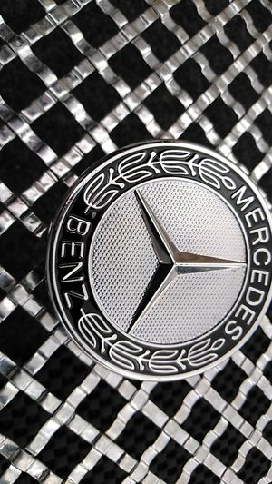 Silver/Black MERCEDES BENZ FLAT BONNET BADGE 57mm for Sale in Houston, TX
