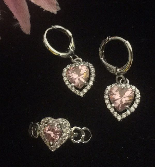 Silver Plated Earrings Ring Set Size 7